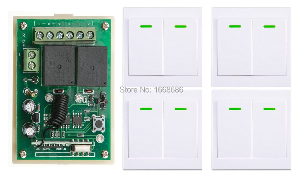 New DC12V 2CH Wireless Remote Control Switch System Receiver + 4*Wall Panel Remote Transmitter Sticky Remote Smart Home Switch
