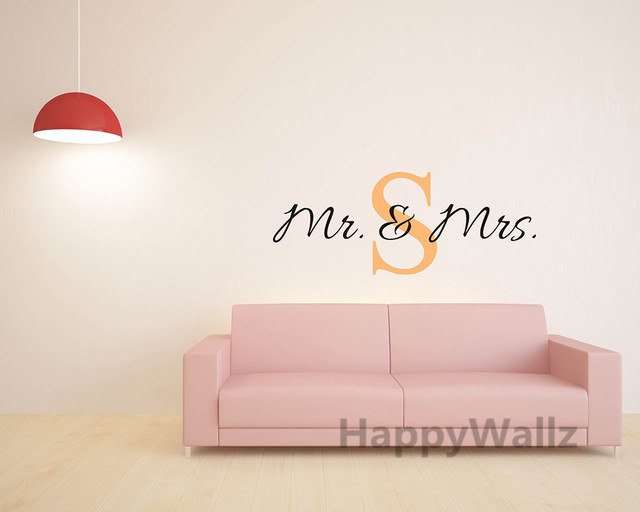 Mr Mrs Name Custom Wall Sticker DIY Family Name Wall Decal Vinyl Wall Quote  Decorating Family Name Decor Hot Sale Free Shipping
