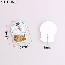 ZOTOONE Christmas Crystal ball Wodden Buttons For Clothing Needlework Snowman Santa Claus Craft Sewing Accessories DIY