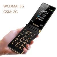 Tkexun Unlock Flip 3G WCDMA Touch Display Senior Mobile Phone SOS Fast Call Large Russian Key Slim Easy Working For Elderly