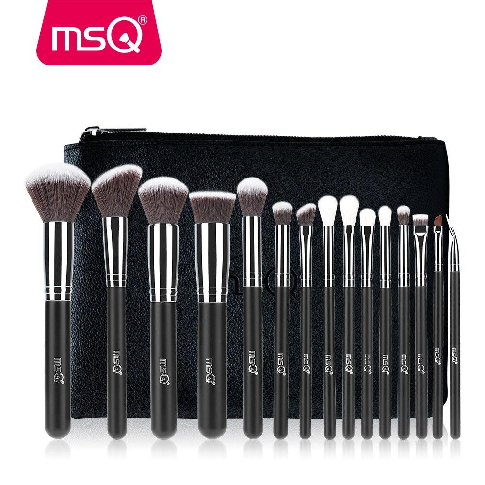 MSQ Pro 15 unids Componen Cepillos Cosméticos Cepillos Del Maquillaje Polvos Sombra de Ojos Suave Pelo Sintético Con Cuero de LA PU caso