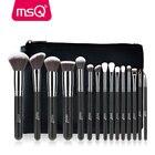 MSQ Pro 15pcs Makeup Brushes Set Powder Foundation Eyeshadow Make Up Brushes Cosmetics Soft Synthetic Hair With PU Leather Case