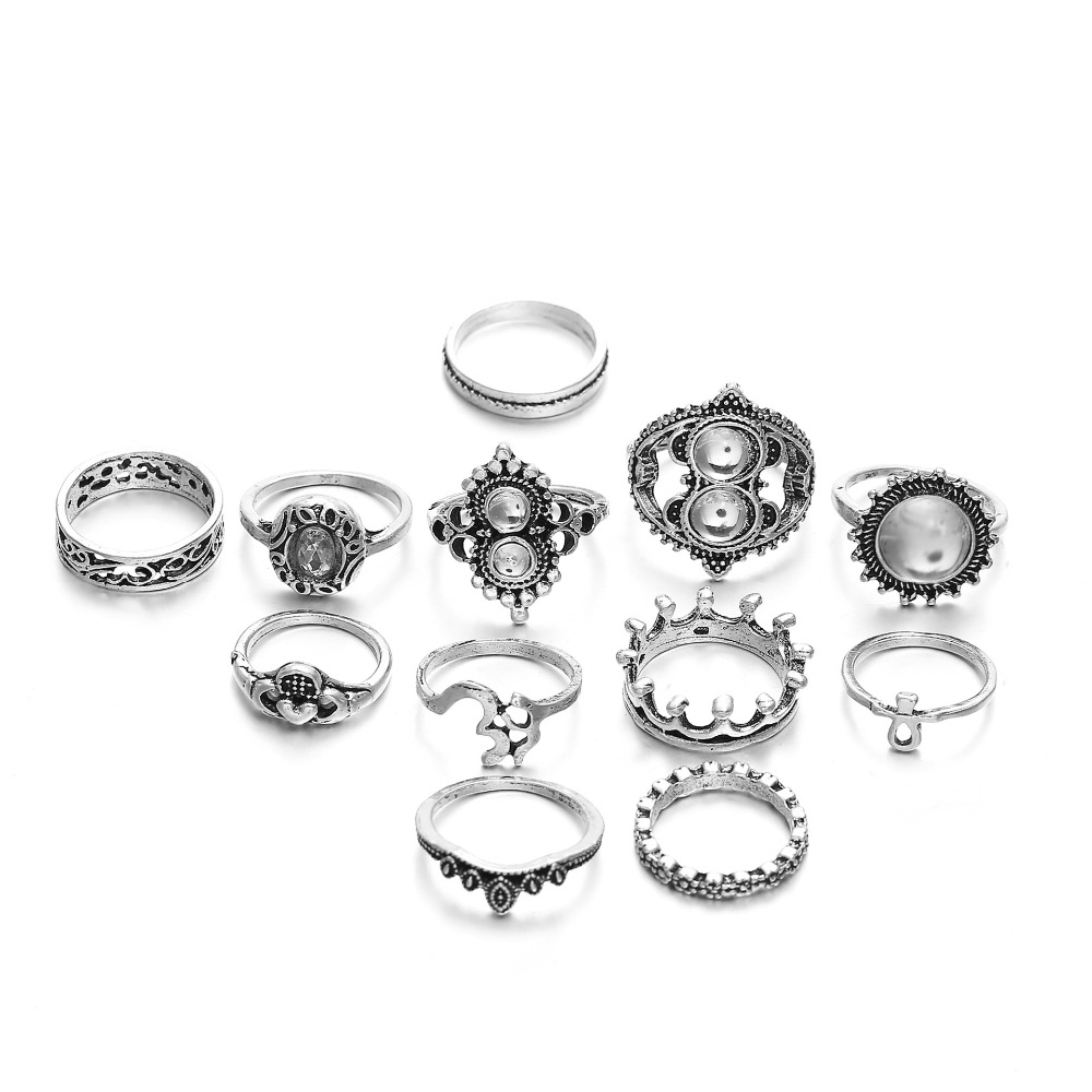 144 pieces/lot Flower Crown Cross Heart Rings Set Women Crystal Antique Silver Color Rhinestone Midi Knuckle Ring Finger Jewelry