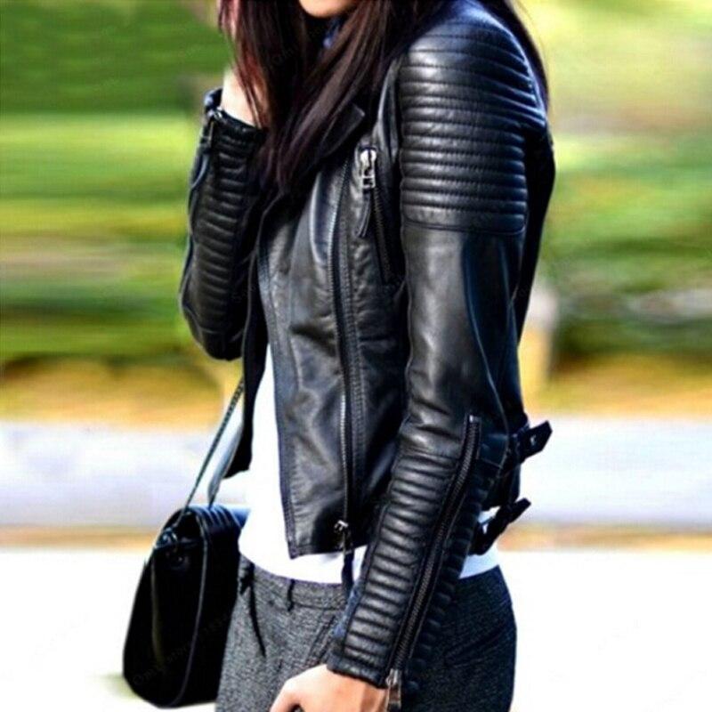 Кожаная куртка Для женщин Кожаные куртки пальто тонкий мотоциклов мягкий молния девушка кожа jaquetas de Couro Feminina casaco Для женщин пальто