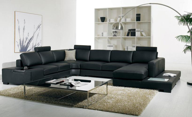 Black Leather Sofa Modern Large Size U Shaped Set With Light Coffee Table Fashion