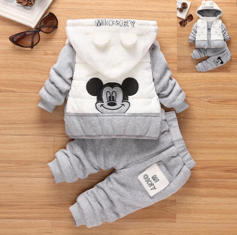 1-4Year boy clothes baby girl clothes 3 piece of set ,baby clothing set winter new style snowsuit Cartoon Mickey clothing set
