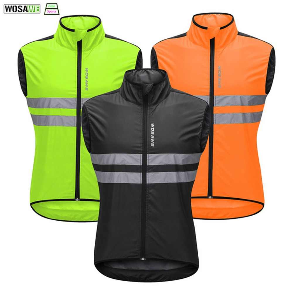 11f5d60b5 WOSAWE High Visibility Cycling Vest Safety Reflective Vest Night Riding  Protect Jacket Pocket Breathable Motorcycle Bicycle