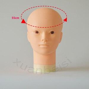 Image 2 - 55cm cabeça de manequim careca com suporte de mesa preta cabeça de maniqui fêmea para peruca que faz o chapéu exibição manequim peruca suporte com cabeça
