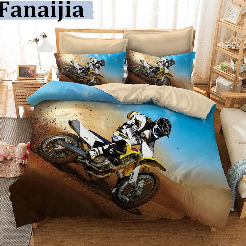 Fanaijia 3d Bedding set queen size motorcycle design Print duvet Cover set with pillowcase Quilt Cover