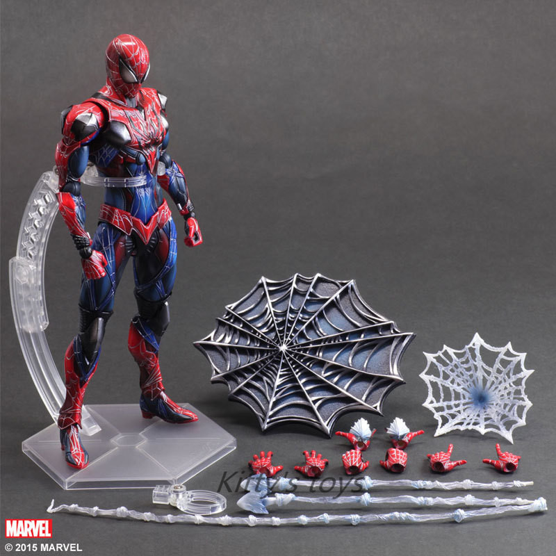 Spiderman Action Figure Play Arts Kai Spider Man 250MM Anime Model Toys Superhero Playarts Spider-Man Free shipping kb0333 spiderman action figure play arts kai spider man 250mm evil version anime superhero playarts spider man model toy