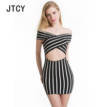 JTCY Women Summer Sexy Striped Dress Slash Neck Off The Shoulder Hollow Out Slim Mini-Length Female Club Pencil Dress chic off the shoulder cut out striped dress for women