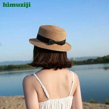 Verano Mujer Boater sombrero playa sombrero femenino Casual Panamá sombrero  Bowknot paja plana sombrero de sol señora marca clás. e42059226e11