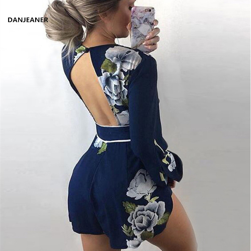 DANJEANER Summer Deep V Neck Floral Print Long Sleeve Rompers Womens   Jumpsuit   Backless Sexy Boho Bodysuit Casual Beach Playsuit