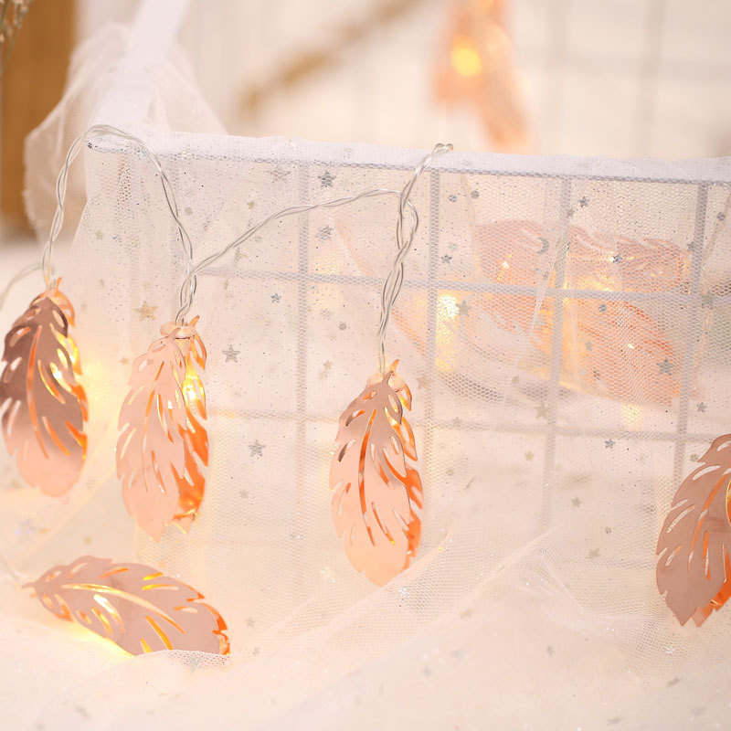Feather Shape 1.5M 3M 5M LED String Light AA Battery Operated Christmas Wedding Party Holiday Deco Lamp Led Fairy Copper Metal