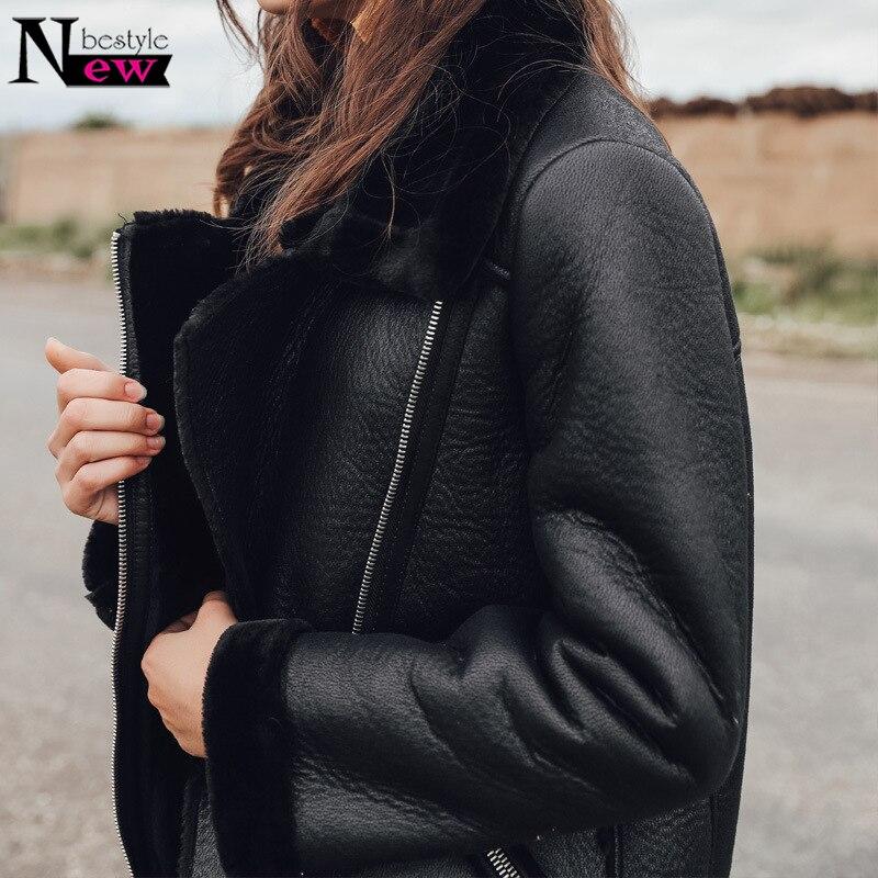 2019 Hiver Épaississent Faux Manteau De Fourrure En Cuir Moelleux Fourrure Veste Femmes Moto Faux Mouton en peau de mouton Manteau Femmes veste en cuir - 6