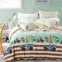 Lovely Cartoon Car And Traffic Light Bedding Set 4 Pcs Red Birds Green Trees With Yellow
