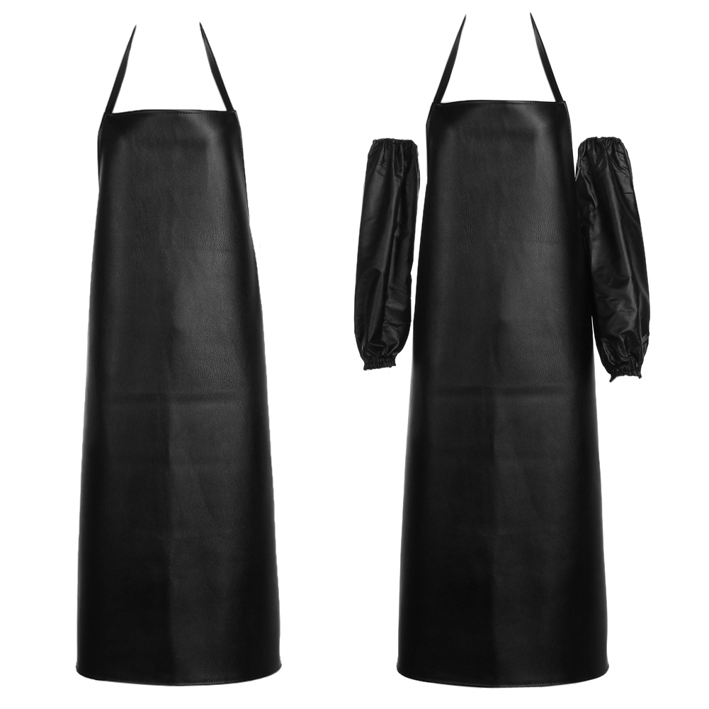 White apron cafe - Hot Mens Womens Convenient Faux Leather Apron Waterproof Chef Kitchen Cafe Commercial Restaurant Cooking Aprons