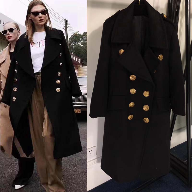 2018 Le nouveau manteau femme hiver tempérament manteau de cachemire femme mince beau style militaire long manteau d'hiver femmes