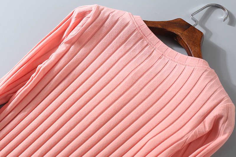 Полосатый эластичная футболка с короткими рукавами Для женщин 2019 весенний Топ Повседневное с круглым вырезом рубашка с длинными рукавами хлопковая Футболка вязаные топы, блузки, плюс Размеры D108