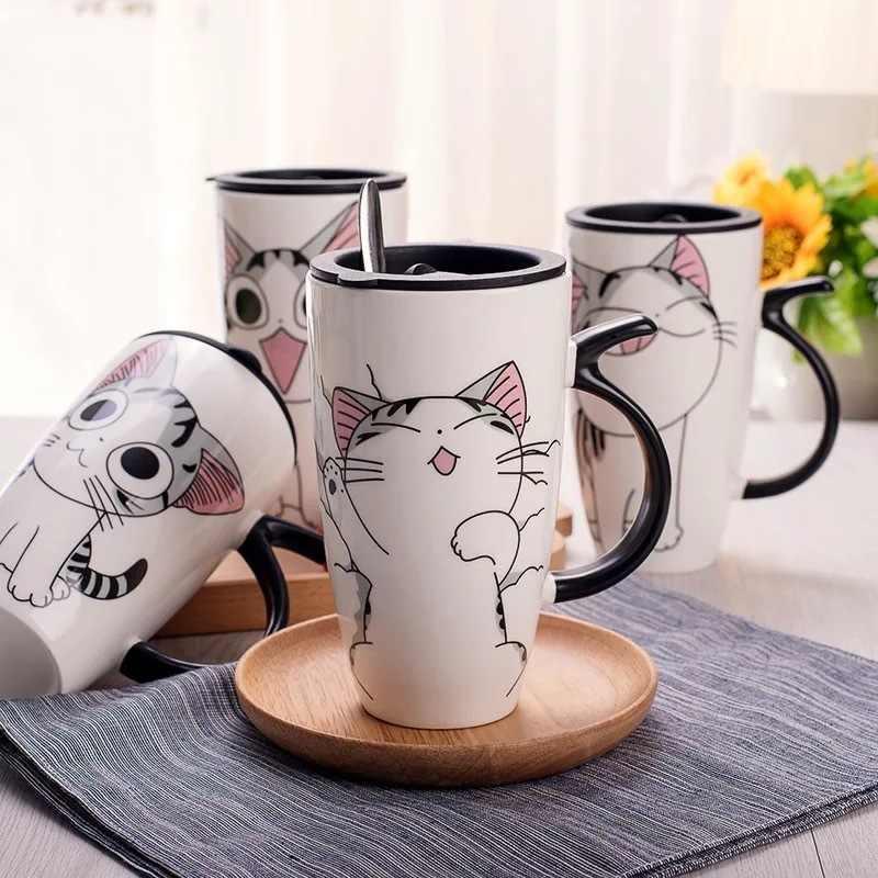 Penjualan Panas 600 Ml Kartun Kreatif Kucing Mug dengan Tutup Susu Cokelat Kehitaman Mug Teh Porselen Cangkir Perjalanan Kapasitas Besar keramik Hadiah Yang Bagus