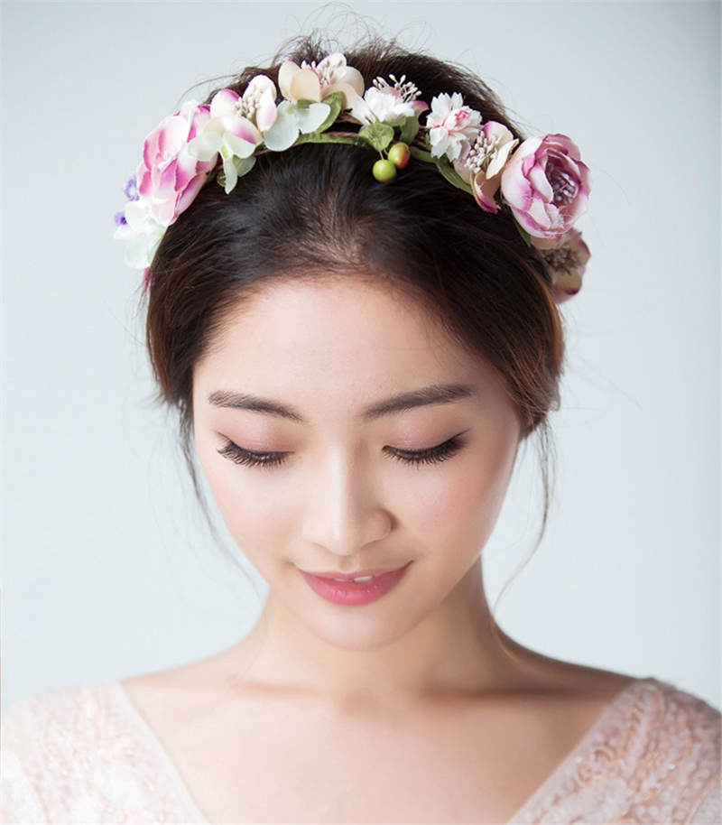 Bridal Flower Headband Garland Artificial Wedding Bouquets Fabric Flowers Hair Accessories Flores Decorations Casamento WIGO0814  2016 trendy fabric blooming peony flower corsage brooch woman hair decorations