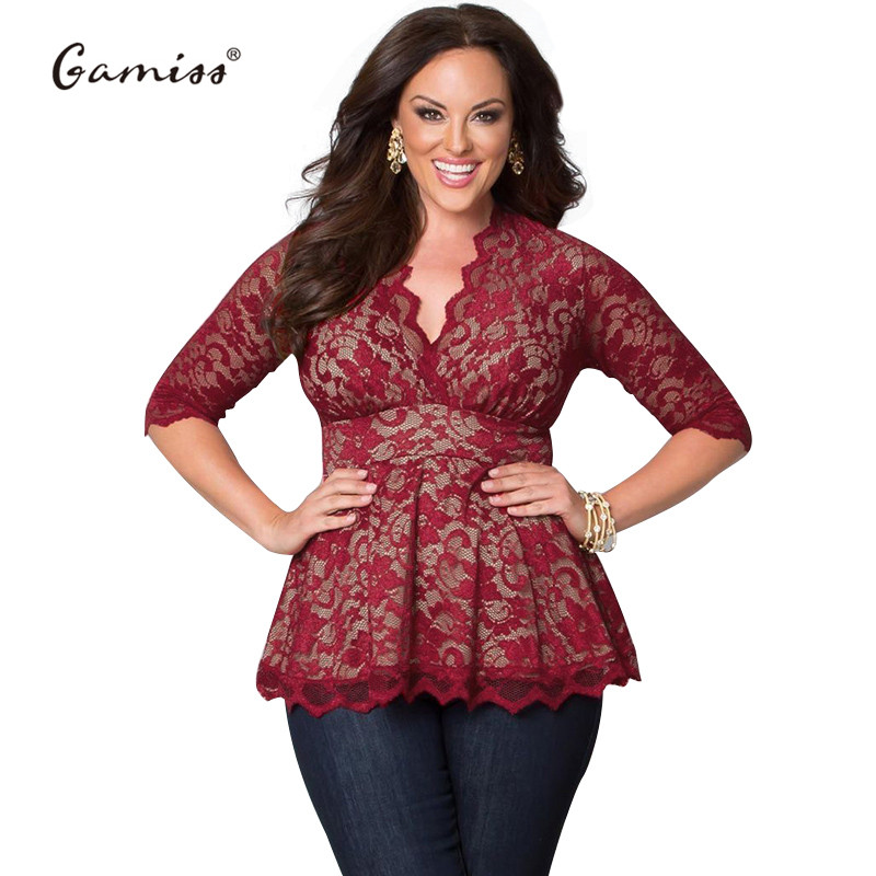 2c78bf10678 Gamiss 2017 Women Sexy Lace Blouse V Neck Plus Size 4XL 5XL feminine Solid  Colors blusa Black red women casual tops Slim blouse-in Blouses   Shirts  from ...