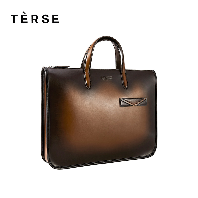 TERSE 2018 New Men`s Briefcase Handmade Genuine Leather Handbag Luxury Business Laptops Bag With Large capacity Customize Logo