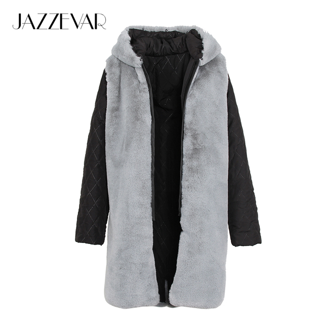 JAZZEVAR 2017 New Fashion High Quality Women's Outer hooded Faux Fur Liner