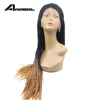 Anogol African American Braid Twist Lace Front Wig Handmade Glueless Synthetic Hair Fully Wig For Women Blonde Ombre Black Roots