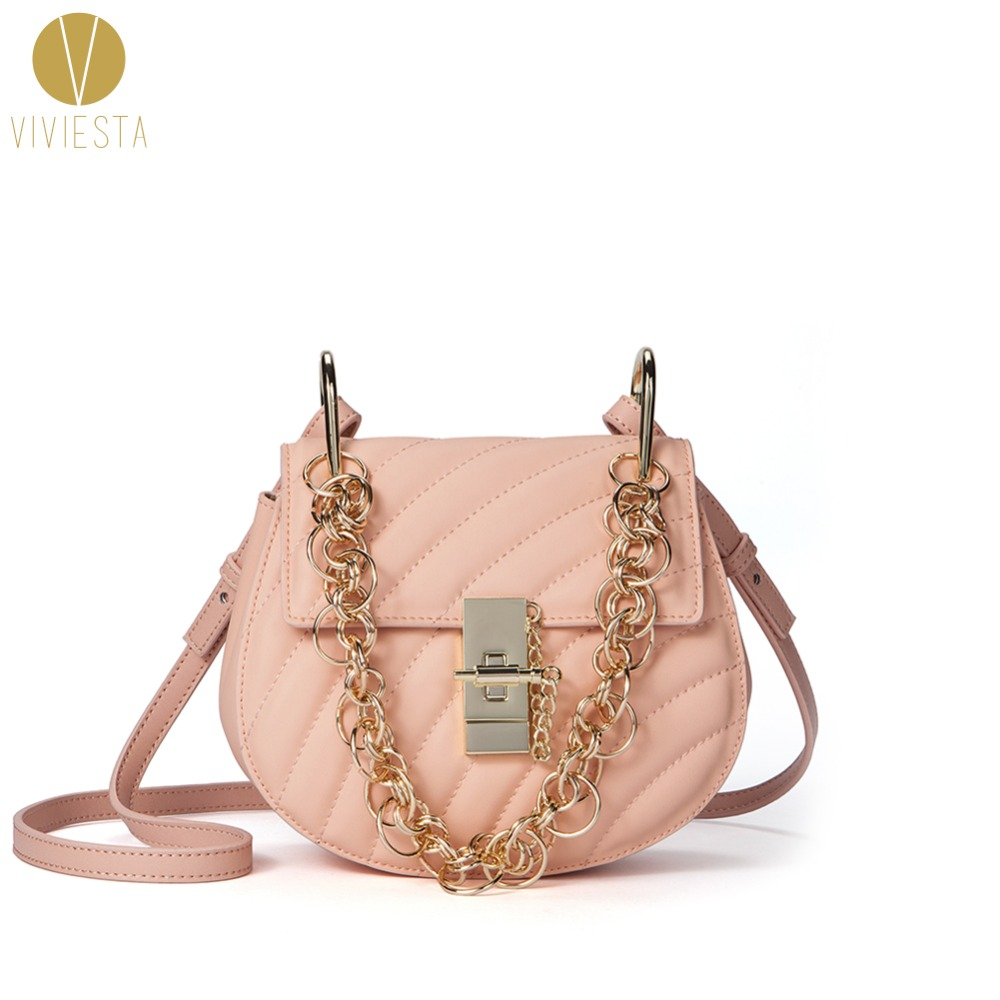 GENUINE LEATHER QUILTED SADDLE BAG Women's 2018 Famous Street Fashion Inspired Design Chain Mini Shoulder Crossbody Handbag