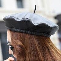 Genuine Sheepskin Leather Caps Fashion Women Berets Caps Hats Luxury Design Adjustable Cap MZ52