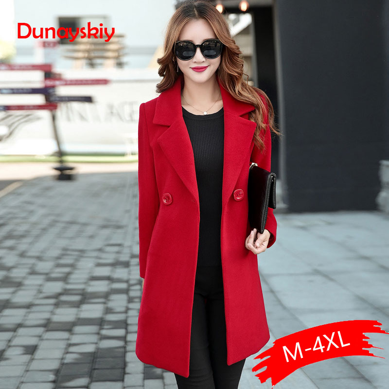 Autumn Winter Jacket Women Yellow Overcoat Wool Coat Suits Plus Size Large Big Long Black Slim Blend Clothes Outerwear