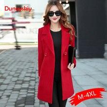Autumn Winter Jacket Women Yellow Overcoat Wool Coat Suits Plus Size Large Big L