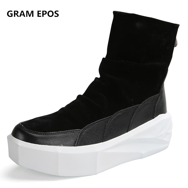 GRAM EPOS Male High Top Men Ankle Boots Superstar Height Increasing Platform Shoes Suede Tactical Boots Zip Bota Masculina