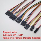 10PCS/LOT 2P 3P 5P 6P 7P 8P 9P 10P Pin Female To Female Connector with 20cm Dupont Cable Wire 2.54MM Pitch Jumper Line