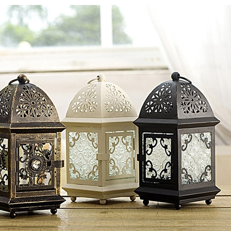PINNY Moroccan Style Nordic Candle Holder Romantic Iron Candlesticks European Crafts Metal Lantern Decoration Home