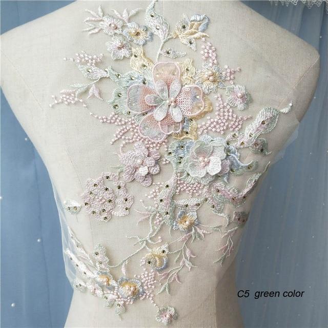 1pc beaded lace applique patch for wedding dresses large floral rhinestone lace appliques patches decorative parches floral
