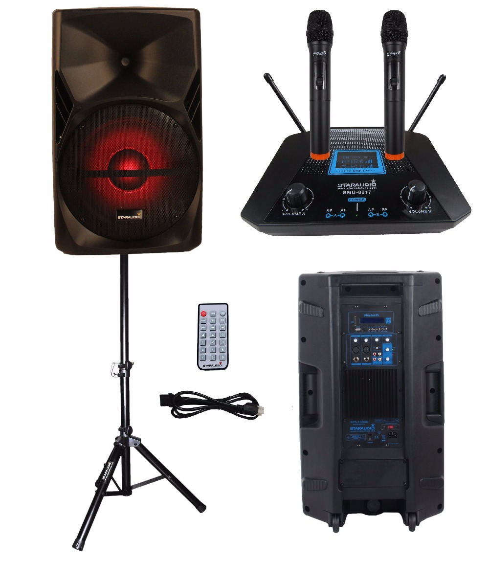 STARAUDIO 15 3500W PA DJ Stage Powered Active Karaoke USB SD BT Speaker with Stand 2CH UHF Wireless Handheld Mic SPS-15RGB