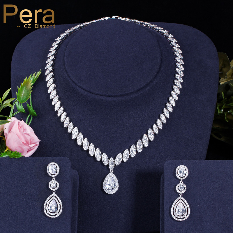 Pera Classic Big Water Drop Women Wedding White Gold Color Jewelry  Cubic Zirconia Necklace And Earrings Sets For Brides J009Pera Classic Big Water Drop Women Wedding White Gold Color Jewelry  Cubic Zirconia Necklace And Earrings Sets For Brides J009