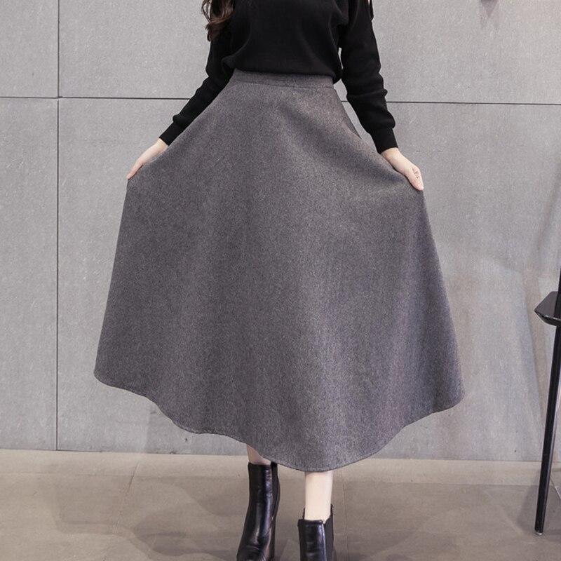 La Mujer Oto/ño Invierno Lana Elegante Cintura Alta Falda Acampanada con Cinturon De Swing Midi