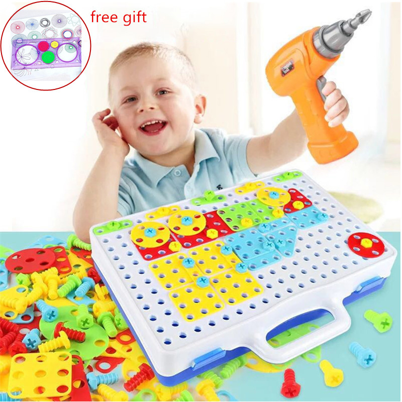 Kids Drill Toys Creative Puzzles Play Toys Set Electric Screws Nuts Tools Building 3D Puzzles Toys For Children Toys For Boys toys