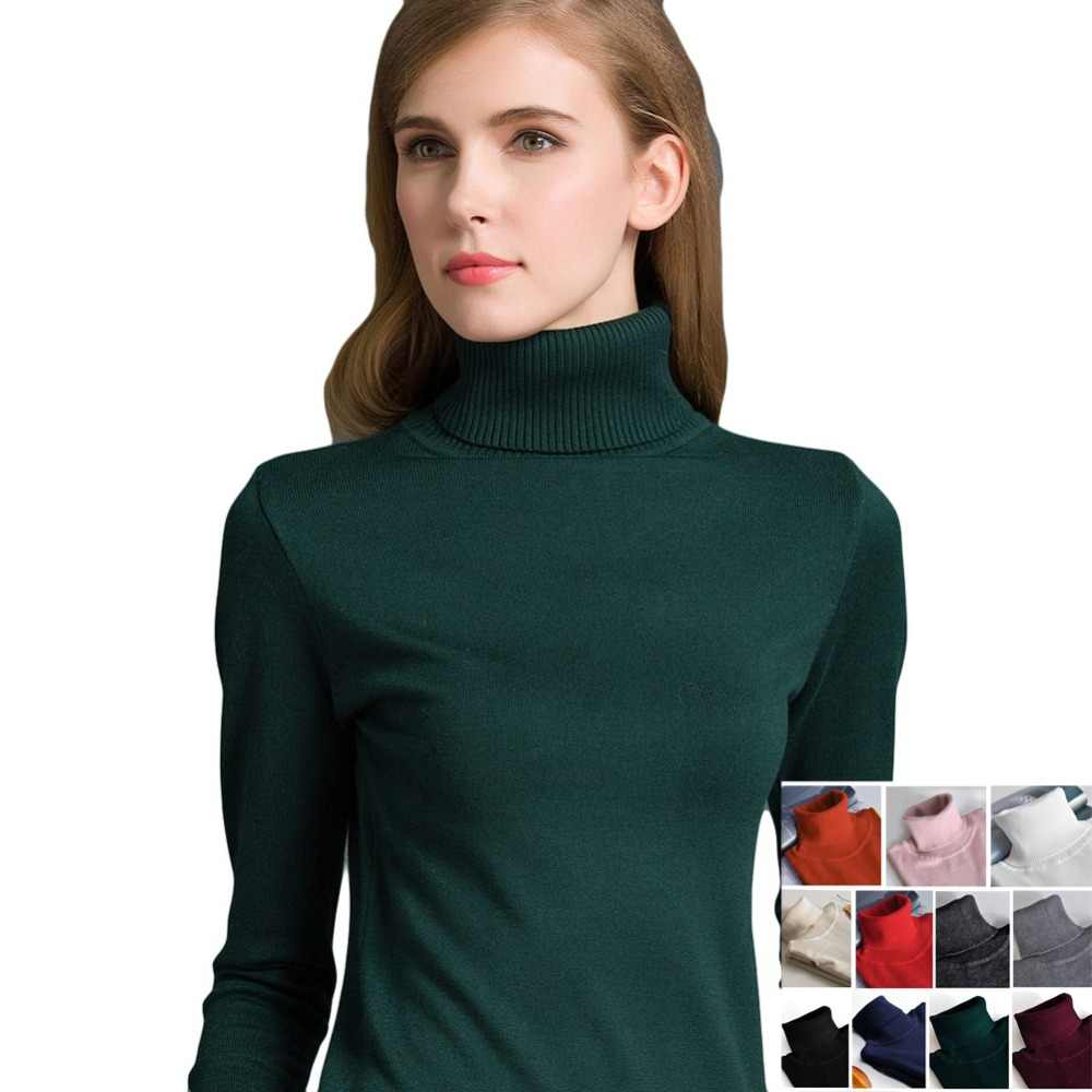 e490c72a5e Detail Feedback Questions about 2019 Autumn Winter Women Pullovers Sweater  Casual Jumpers Fashion Slim Turtleneck Warm Sweaters Long Sleeves Ribbed  Knitted ...