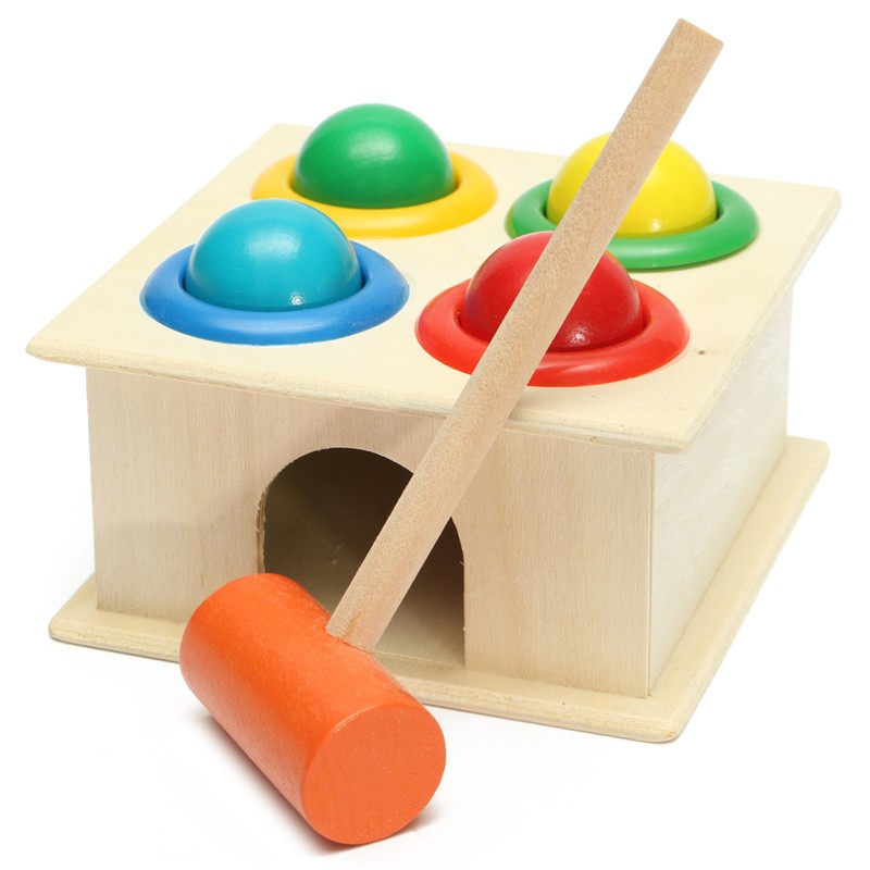 Children Kids Early Educational Intellectual Developmental Toys Gift Wooden Knock Hammering Toys Rolling Ball Hammer Box