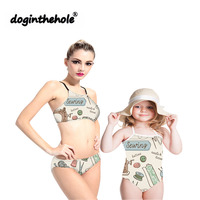 Doginthehole Hot Sale Parent Child Cute Sewing Supplies Bikini Swimwear Family Summer Beach Swimming Two Piece Fashion Swimsuit
