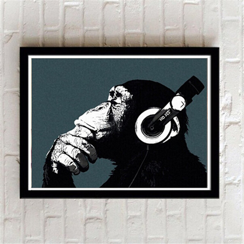 New Framed Lovely Gorilla Modern Home Decoration Painting Wall Art Paintings Animal Picture On Canvas living room mural