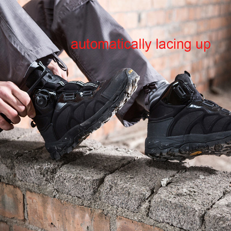 outdoor automatically lace up boot tactical ankle boots,anti-slip, wear-resistant, suitable for hiking camping and sports shoes yin qi shi man winter outdoor shoes hiking camping trip high top hiking boots cow leather durable female plush warm outdoor boot