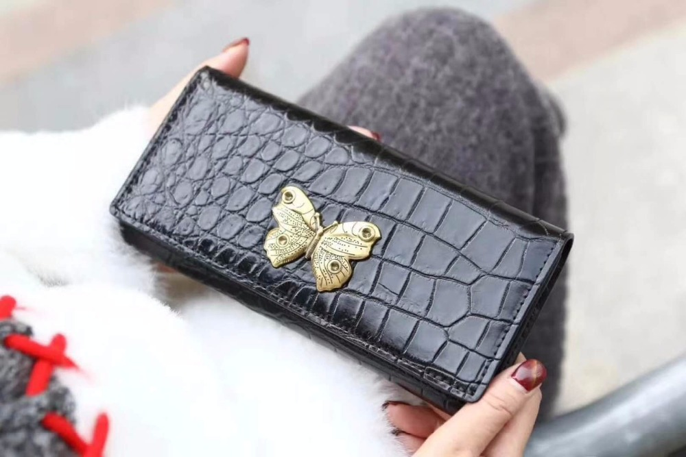 Luxury quality 100% Genuine/Real crocodile belly skin leather bank card holder metal butterfly women lady case and wallet purse