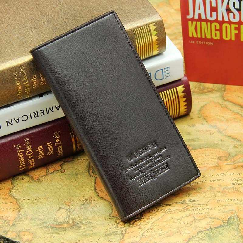 Pria PU kulit panjang clutch dompet pria pemegang Kartu bisnis dompet coklat hitam laki-laki mode saku dompet Coin bag purse Billfold