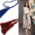 New Fashion Ladies Hand-woven Thin Belts For Women Tassel Belts Decorative Accessories Rope Knitted Strap Ceinture Femme 75AA077