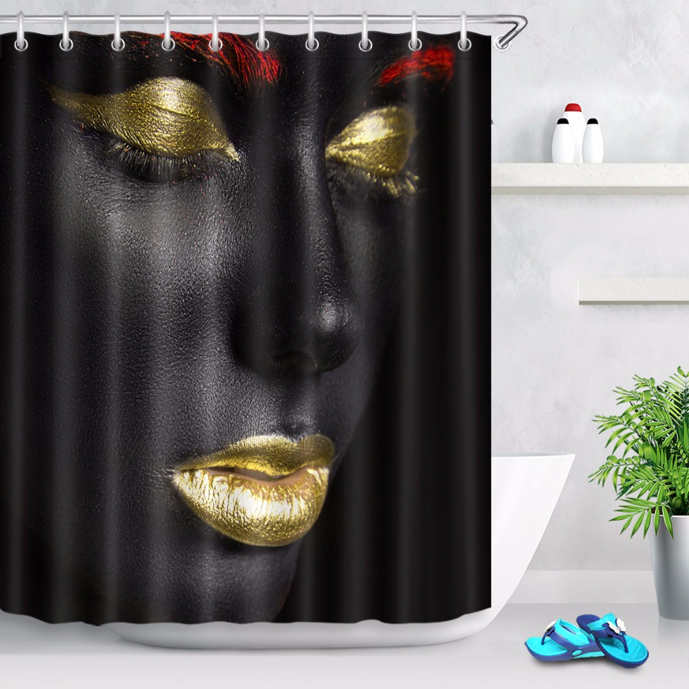 Red And Black Shower Curtain Set 72 African Gold Red Makeup Black Woman Bathroom Fabric Shower Curtain Liner Waterproof Polyester Curtain Sets 12 Hooks